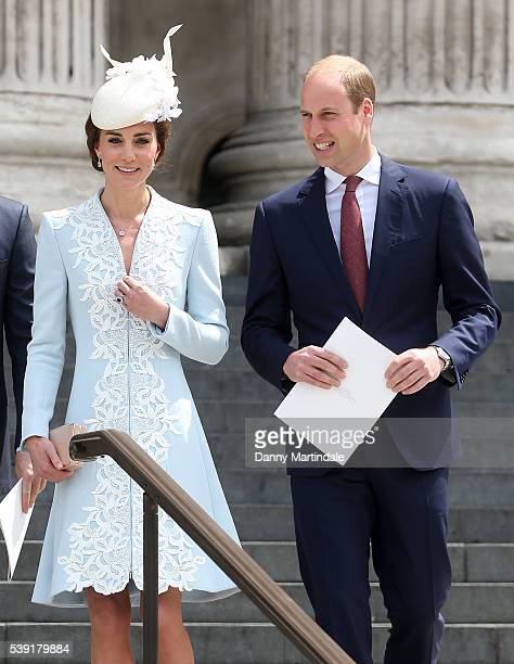 Catherine, Duchess of Cambridge and Prince William, Duke of Cambridge attends a National Service of Thanksgiving as part of the 90th birthday...