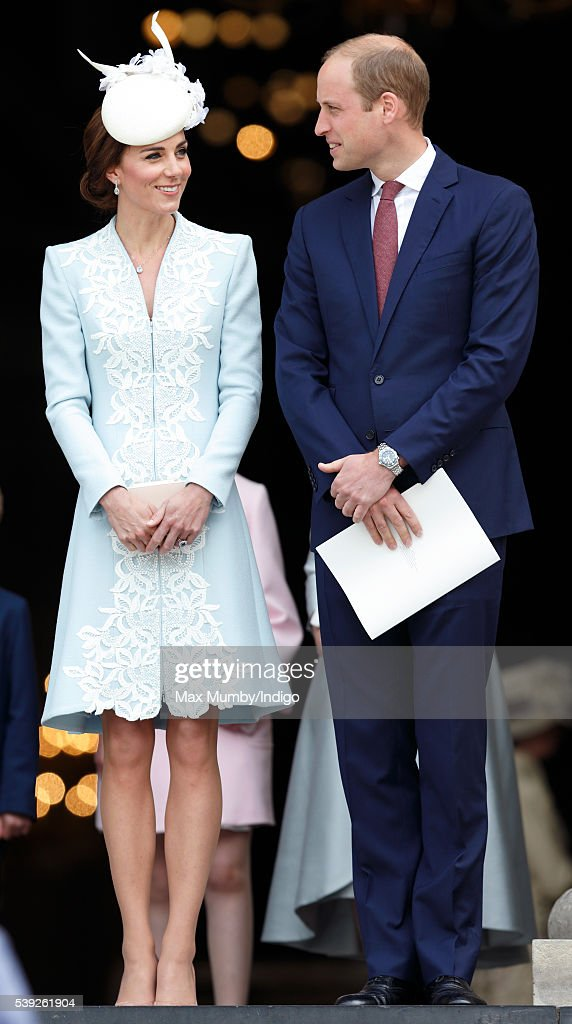Catherine, Duchess of Cambridge and Prince William, Duke of Cambridge attend a national service of thanksgiving to mark Queen Elizabeth II's 90th birthday at St Paul's Cathedral on June 10, 2016 in London, England.