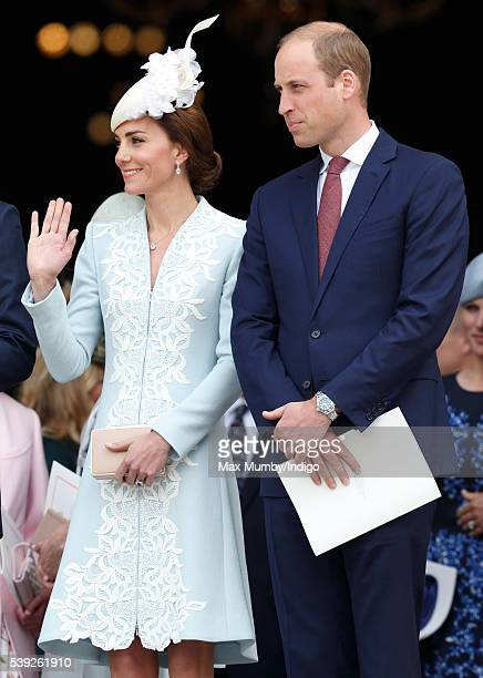 Catherine Duchess of Cambridge and Prince William Duke of Cambridge attend a national service of thanksgiving to mark Queen Elizabeth II's 90th...