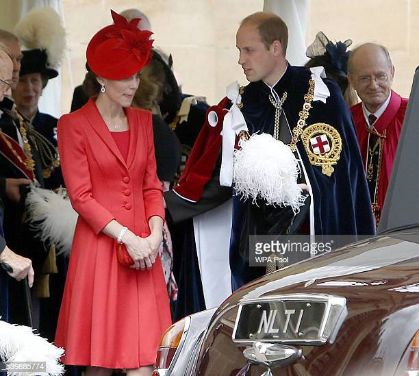 Catherine Duchess of Cambridge and Prince William Duke of Cambridge leave the annual Order of The Garter Service at St George's Chapel Windsor Castle...