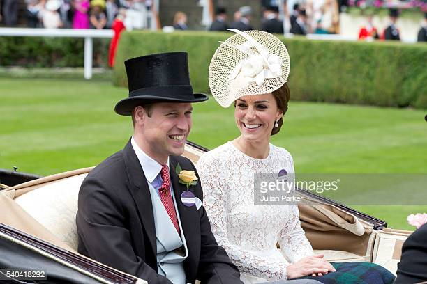 Catherine Duchess of Cambridge and Prince William Duke of Cambridge attend day 2 of Royal Ascot at Ascot Racecourse on June 15 2016 in Ascot England