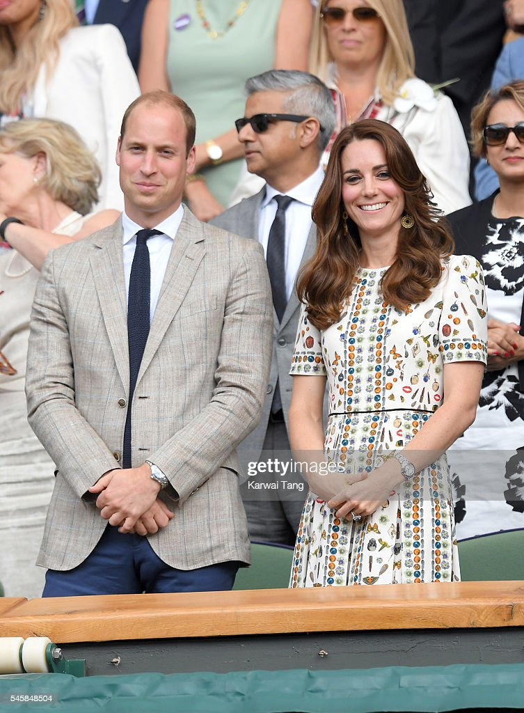 Catherine, Duchess of Cambridge and Prince William, Duke of Cambridge attend the Men's Final of the Wimbledon Tennis Championships between Milos Raonic and Andy Murray at Wimbledon on July 10, 2016 in London, England.