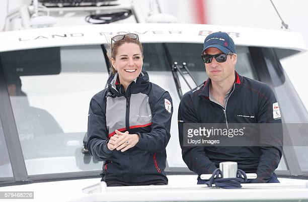 Catherine Duchess of Cambridge and Prince William Duke of Cambridge watch the race from onboard the LandRover BAR support boat during day 3 of the...
