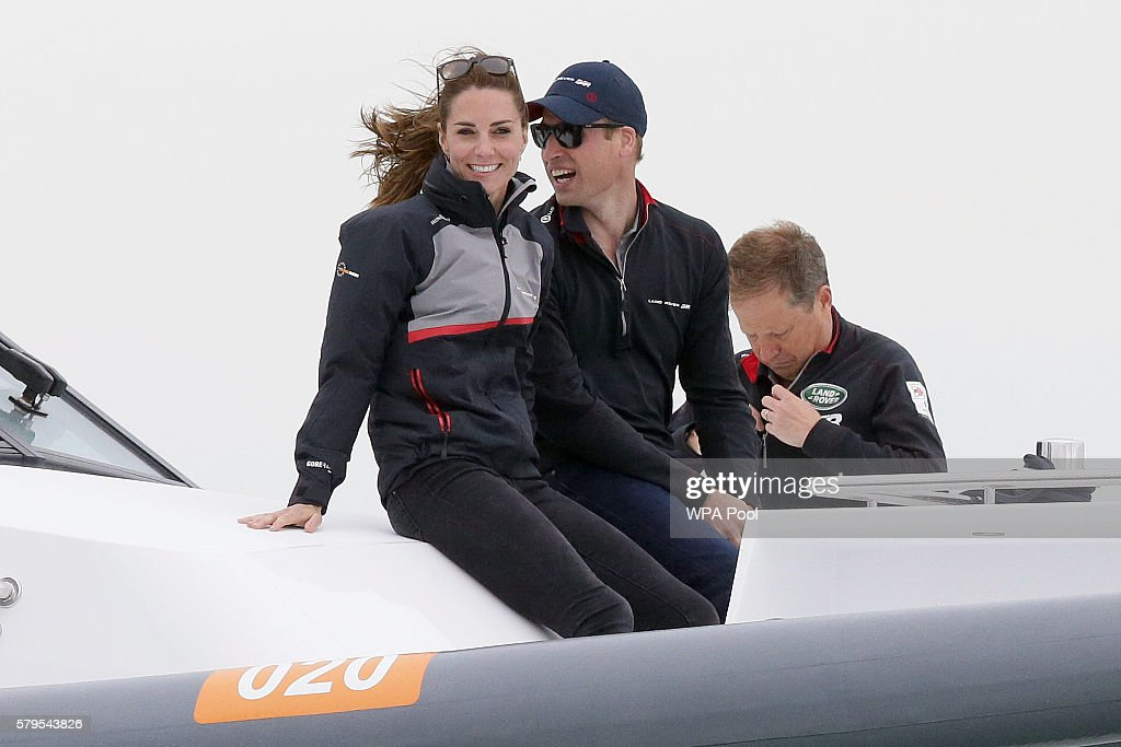 Catherine, Duchess of Cambridge and Prince William, Duke of Cambridge ride in the front of a boat as they watch the America's Cup World Series Race on the Solent on July 24, 2016 in Portsmouth, United Kingdom. The royal couple visited the home of the British competitors for the America's Cup before observing the ongoing competition.