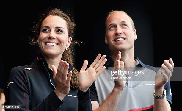 Catherine Duchess of Cambridge and Prince William Duke of Cambridge on stage during the presentations at the America's Cup World Series on July 24...