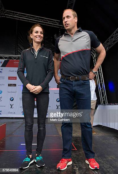 Catherine Duchess of Cambridge and Prince William Duke of Cambridge attend the trophy presentation of the America's Cup World Series on July 24 2016...