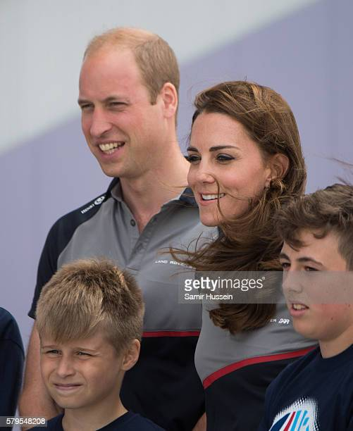 Catherine, Duchess of Cambridge and Prince William, Duke of Cambridge visit the Land Rover BAR at The America's Cup World Series on July 24, 2016 in...