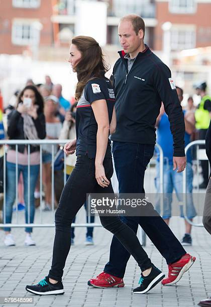 Catherine Duchess of Cambridge and Prince William Duke of Cambridge visit the Land Rover BAR at The America's Cup World Series on July 24 2016 in...