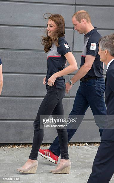 Catherine Duchess of Cambridge and Prince William Duke of Cambridge attend the America's Cup World Series at BAR HQ on July 24 2016 in Portsmouth...