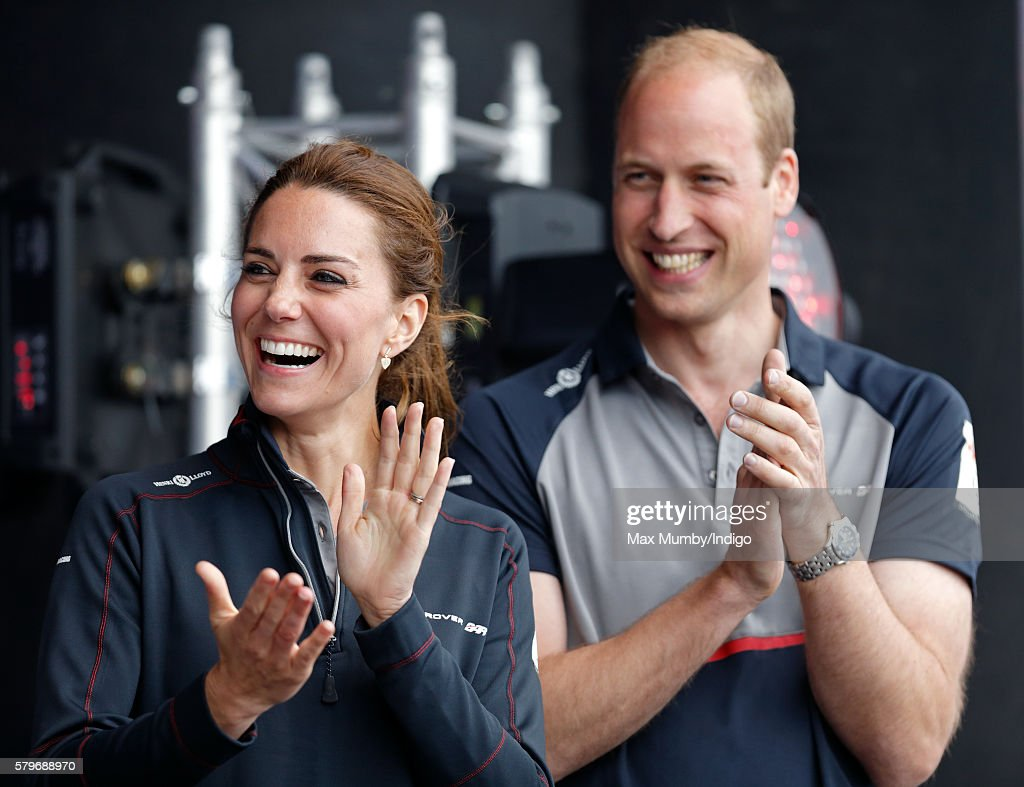Catherine, Duchess of Cambridge and Prince William, Duke of Cambridge attend the prize giving presentation at the America's Cup World Series on July 24, 2016 in Portsmouth, England.