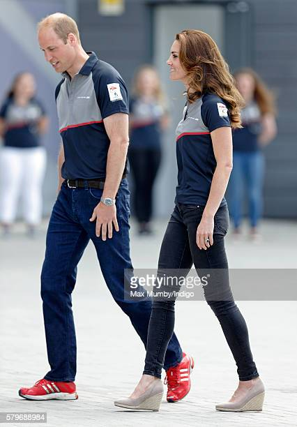 Catherine, Duchess of Cambridge and Prince William, Duke of Cambridge visit Land Rover BAR during the America's Cup World Series on July 24, 2016 in...