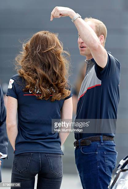 Catherine Duchess of Cambridge and Prince William Duke of Cambridge visit Land Rover BAR during the America's Cup World Series on July 24 2016 in...