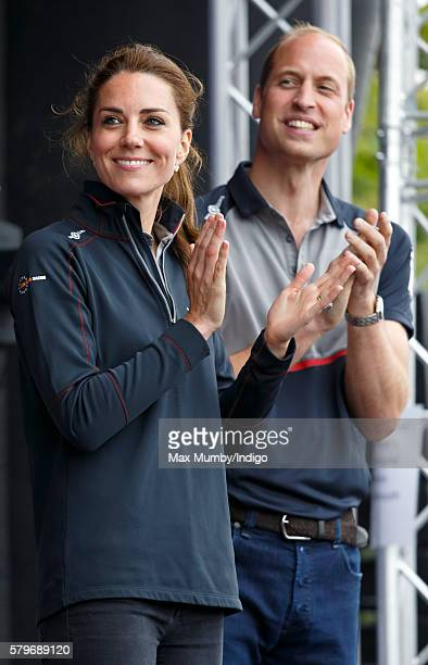 Catherine Duchess of Cambridge and Prince William Duke of Cambridge attend the prize giving presentation at the America's Cup World Series on July 24...