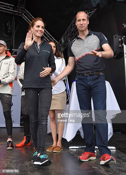 Catherine Duchess of Cambridge and Prince William Duke of Cambridge attend the America's Cup World Series at the Race Village on July 24 2016 in...