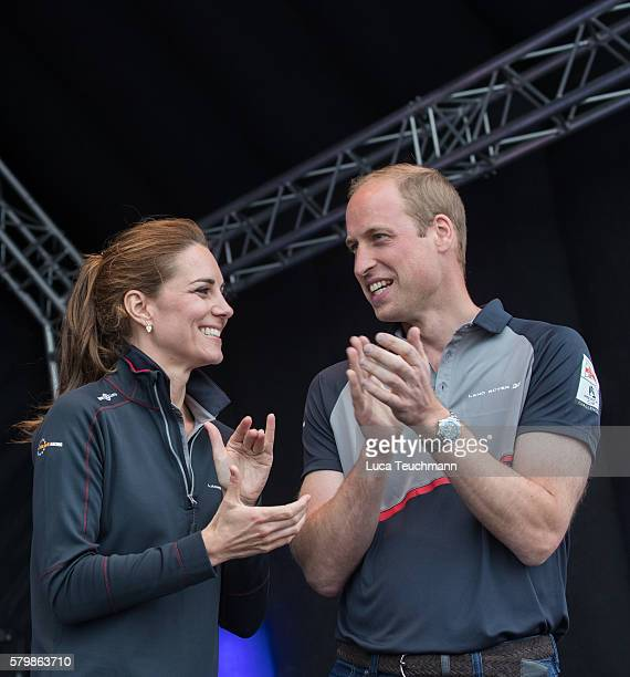Catherine Duchess of Cambridge and Prince William Duke of Cambridge attends the America's Cup World Series at the Race Village on July 24 2016 in...