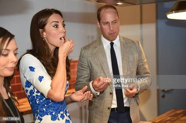 Catherine, Duchess of Cambridge and Prince William, Duke of Cambridge visit Youthscape on August 24, 2016 in Luton, England. The Duke and Duchess...