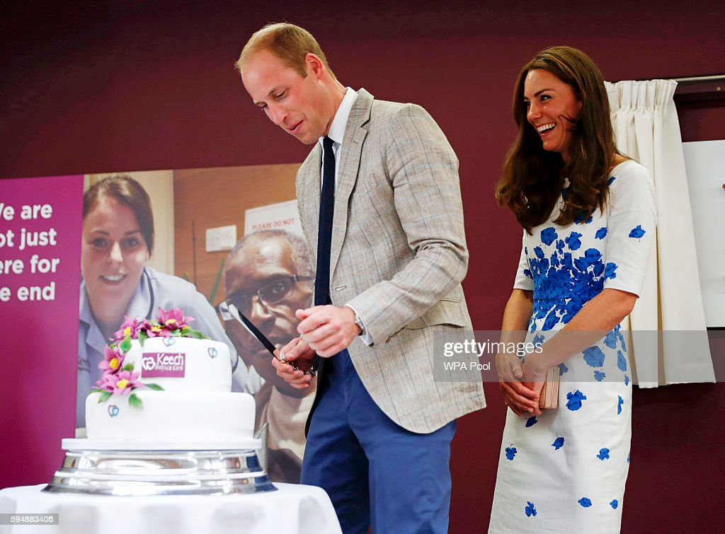 Catherine, Duchess of Cambridge and Prince William, Duke of Cambridge cut a 25th anniversary cake during their visit to Keech Hospice Care on August 24, 2016 in Luton, England. The Duke and Duchess visited Youthscape at Bute Mills to tour the facility and learn about Youthscape's work, and then meet CHUMS and the OM Group and Luton Council of Faiths and Grassroots for discussions about coping with suicide and supporting young people's mental health and emotional wellbeing across faith groups.