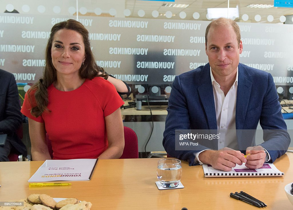 Catherine, Duchess of Cambridge and Prince William, Duke of Cambridge visit a helpline service run by one of the eight charity partners of Heads Together on August 25, 2016 in London, England.
