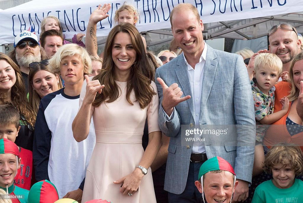 The Duke and Duchess of Cambridge studied  the work of the Wave Project on Newquay's Towan Beach : News Photo