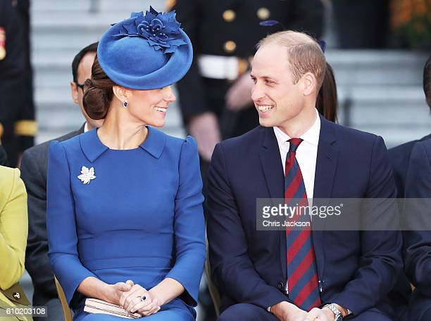 Catherine Duchess of Cambridge and Prince William Duke of Cambridge attend the Official Welcome Ceremony for the Royal Tour at the British Columbia...