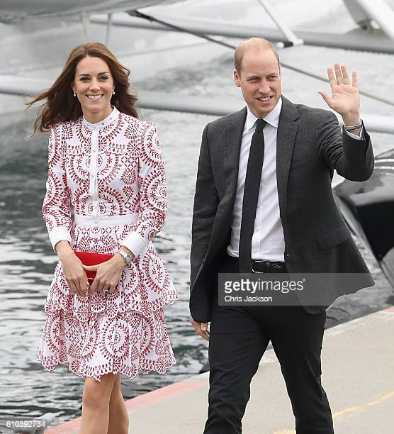 Catherine, Duchess of Cambridge and Prince William, Duke of Cambridge after they arrive by sea plane at the Vancouver Harbour Flight Centre during...