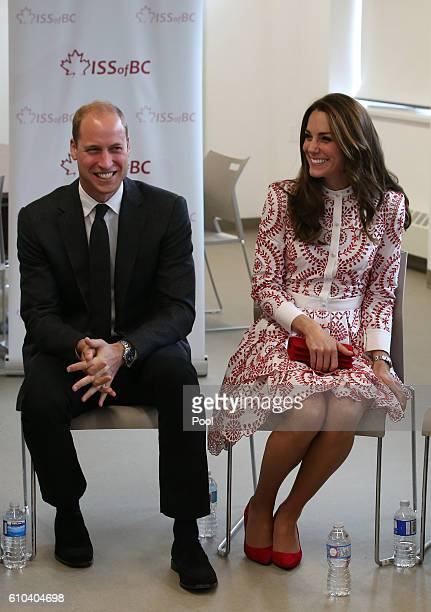 Catherine Duchess of Cambridge and Prince William Duke of Cambridge meet members of TechStart and MY Circle youth in the Vancity room during their...