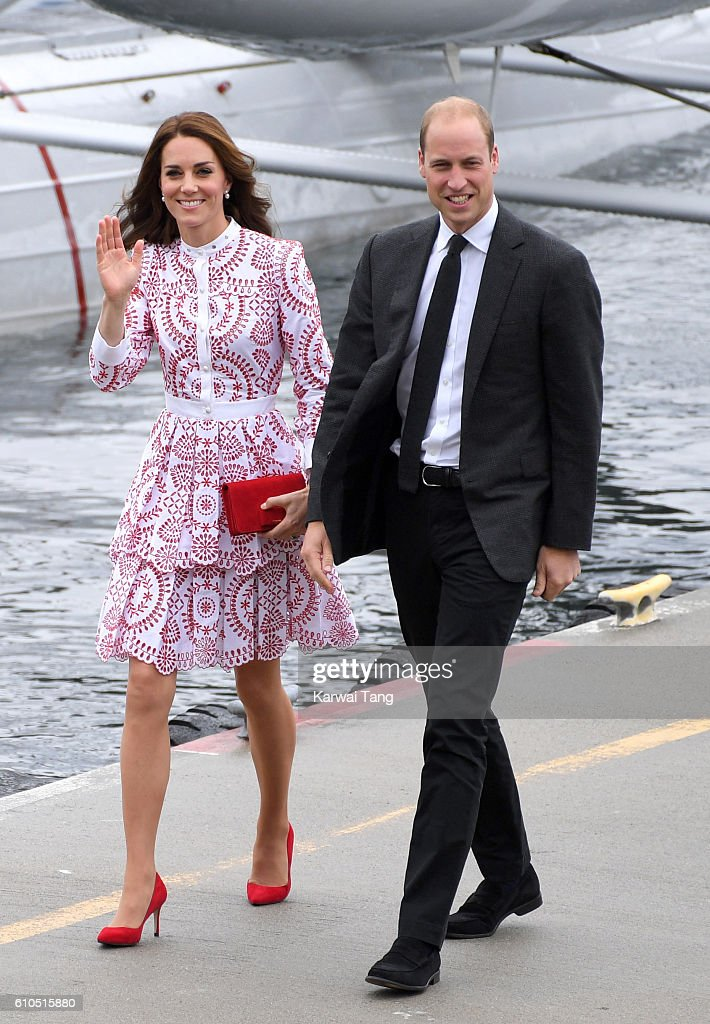 Catherine, Duchess of Cambridge and Prince William, Duke of Cambridge arrive at the Vancouver Harbour Flight Centre by seaplane to meet dignitaries on September 25, 2016 in Vancouver, Canada.