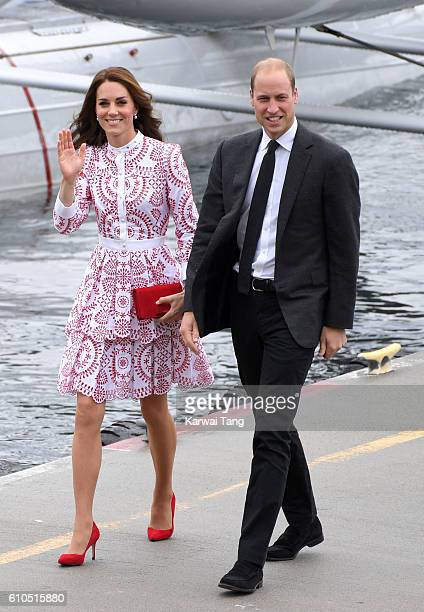 Catherine Duchess of Cambridge and Prince William Duke of Cambridge arrive at the Vancouver Harbour Flight Centre by seaplane to meet dignitaries on...