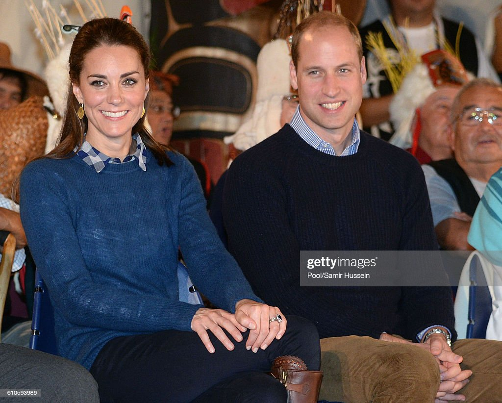 Catherine, Duchess of Cambridge and Prince William, Duke of Cambridge attend an official welcome and performance from Bella Bella First Nations Community at Wawiska Community Hall on September 26, 2016 in Bella Bella, Canada.