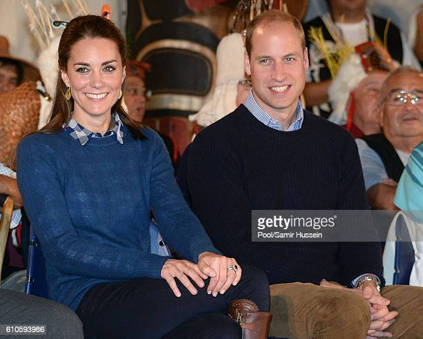 Catherine, Duchess of Cambridge and Prince William, Duke of Cambridge attend an official welcome and performance from Bella Bella First Nations...