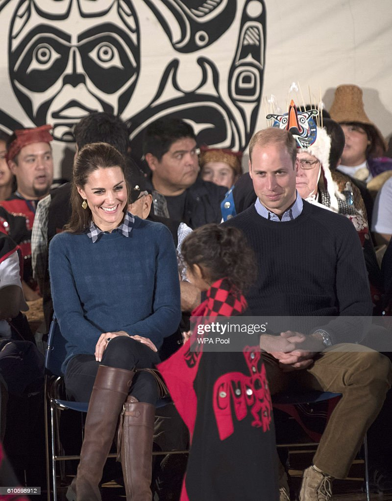 Catherine, Duchess of Cambridge and Prince William, Duke of Cambridge attend an official welcome performance during their visit to first nations Community members on September 25, 2016 in Bella Bella, Canada. Prince William, Duke of Cambridge, Catherine, Duchess of Cambridge, Prince George and Princess Charlotte are visiting Canada as part of an eight day visit to the country taking in areas such as Bella Bella, Whitehorse and Kelowna.