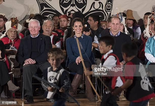Catherine Duchess of Cambridge and Prince William Duke of Cambridge attend an official welcome performance during their visit to first nations...