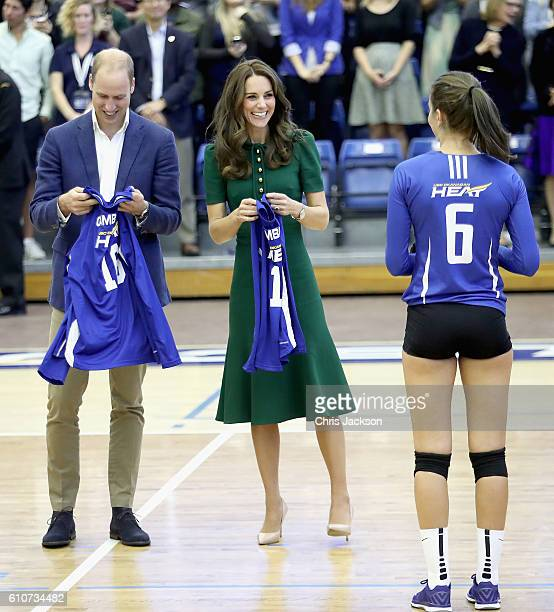 Catherine Duchess of Cambridge and Prince William Duke of Cambridge watch a game of volleyball as they visit Kelowna University during the Royal Tour...