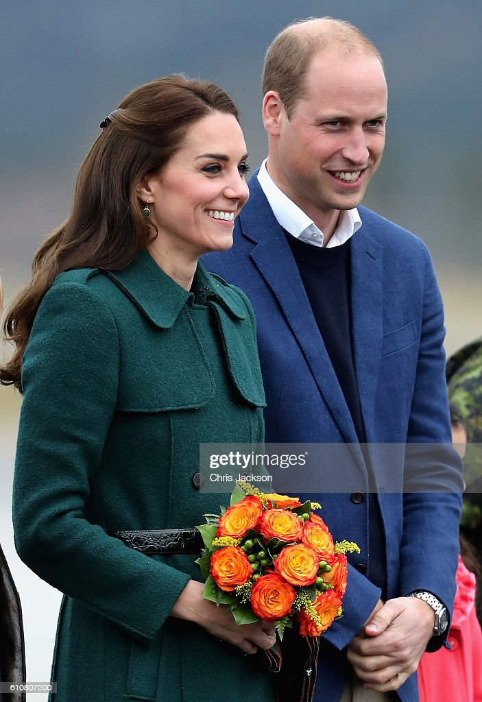 Catherine, Duchess of Cambridge and Prince William, Duke of Cambridge arrive in Whitehorse during the Royal Tour of Canada on September 27, 2016 in Whitehorse, Canada. Prince William, Duke of Cambridge, Catherine, Duchess of Cambridge, Prince George and Princess Charlotte are visiting Canada as part of an eight day visit to the country taking in areas such as Bella Bella, Whitehorse and Kelowna