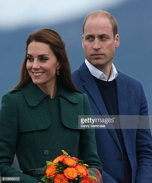 Catherine Duchess of Cambridge and Prince William Duke of Cambridge arrive at Whitehorse Airport on September 27 2016 in Whitehorse Canada