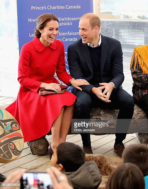 Catherine Duchess of Cambridge and Prince William Duke of Cambridge sit as stories are read to children at McBride Museum during the Royal Tour of...