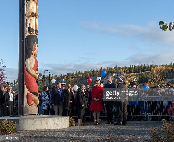 Catherine Duchess of Cambridge and Prince William Duke of Cambridge visit the town during the Royal Tour of Canada on September 28 2016 in Whitehorse...