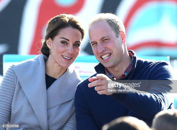 Catherine Duchess of Cambridge and Prince William Duke of Cambridge receive a cultural welcome by the First Nation people during their Royal Tour of...