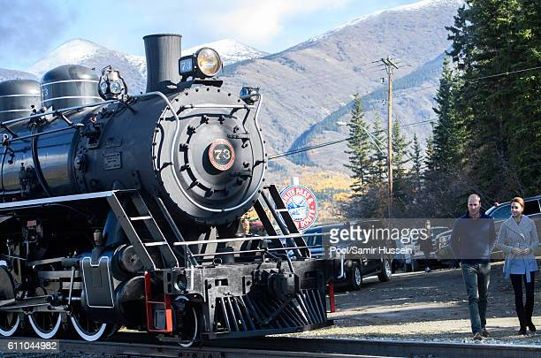 Catherine Duchess of Cambridge and Prince William Duke of Cambridge view a steam train as they visit Montana mountain Carcross on September 28 2016...