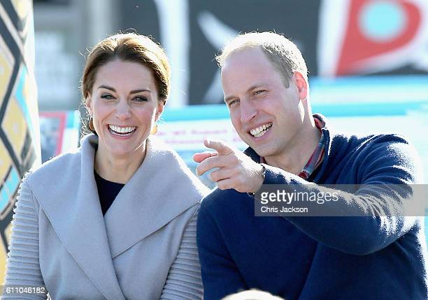 Catherine Duchess of Cambridge and Prince William Duke of Cambridge watch a cultural welcome in Carcross during the Royal Tour of Canada on September...