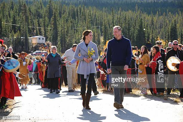 Catherine, Duchess of Cambridge and Prince William, Duke of Cambridge visit Carcross during the Royal Tour of Canada on September 28, 2016 in...