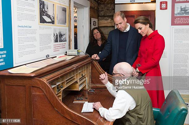 Catherine Duchess of Cambridge and Prince William Duke of Cambridge send a telegram to tweet with Doug Bell at the McBride Museum on September 28...
