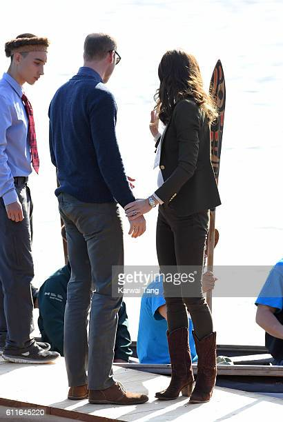Catherine Duchess of Cambridge and Prince William Duke of Cambridge arrive at the Haida Heritage Centre and Museum on September 30 2016 in Haida...