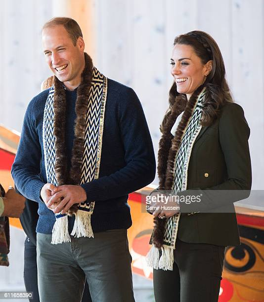 Catherine Duchess of Cambridge and Prince William Duke of Cambridge visit the Haida Heritage Centre on September 30 2016 in Haida Gwaii Canada