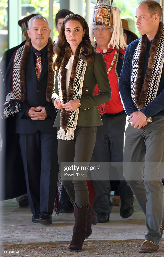 Catherine, Duchess of Cambridge and Prince William, Duke of Cambridge visit the Haida Heritage Centre and Museum on September 30, 2016 in Haida Gwaii, British Columbia, Canada.