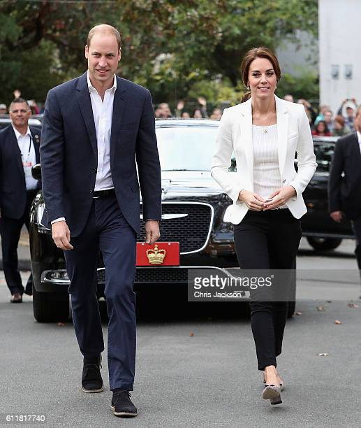 Catherine, Duchess of Cambridge and Prince William Duke of Cambridge arrive at the Cridge Centre for the Family on the final day of their Royal Tour...
