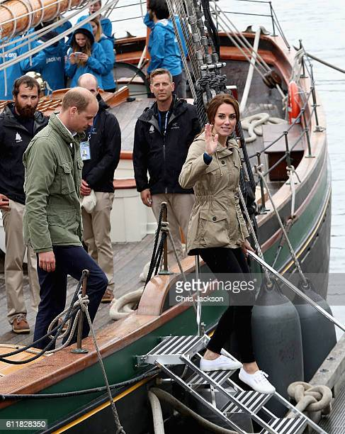 Catherine, Duchess of Cambridge and Prince William, Duke of Cambridge disembark the tall ship Pacific Grace in Victoria Harbour on the final day of...