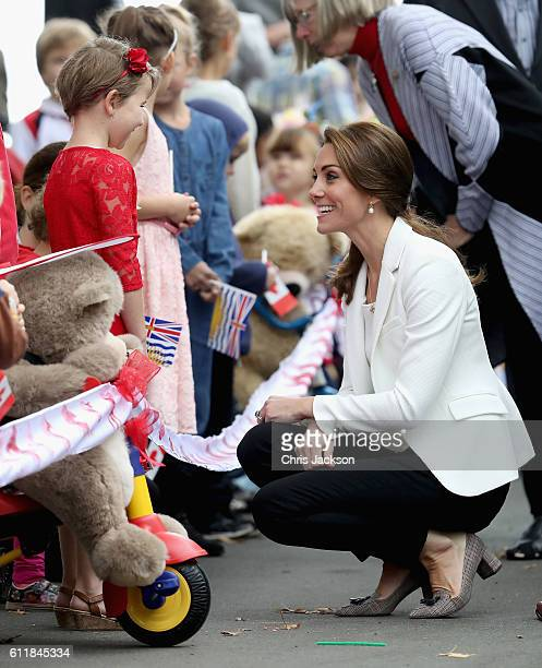 Catherine, Duchess of Cambridge and Prince William Duke of Cambridge meets children at Cridge Centre for the Family on the final day of their Royal...