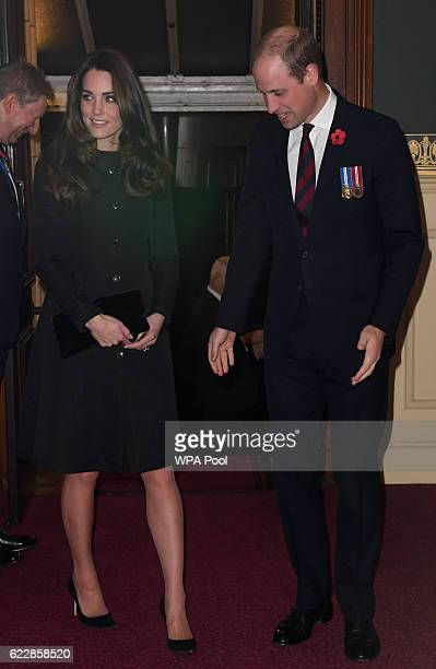 Catherine Duchess of Cambridge and Prince William Duke of Cambridge attend the annual Royal Festival of Remembrance at the Royal Albert Hall on...