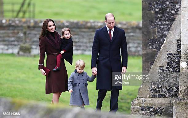 Catherine, Duchess of Cambridge and Prince William, Duke of Cambridge, Prince George of Cambridge and Princess Charlotte of Cambridge arrive to...